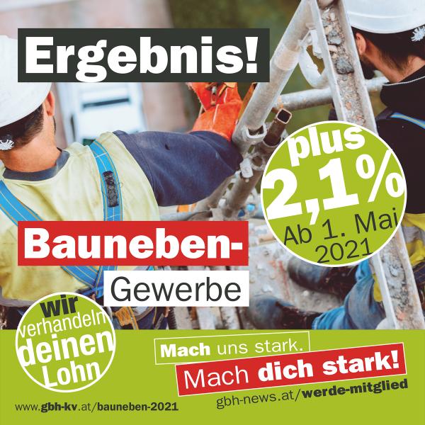 Sensationeller Abschluss Baunebengewerbe: Plus 2,1 Prozent