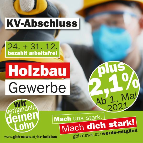KV-Holzbau: +2,1 Prozent - 24. und 31. Dezember bezahlt arbeitsfrei