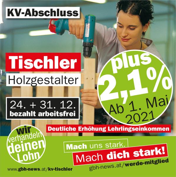 KV-Abschluss TischlerInnen + 2,1%
